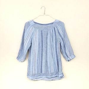 Lands' End Peasant Blouse Blue Striped 100% Linen